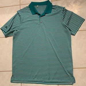 Adidas Climalite Turquoise Striped Polo Men's (L)